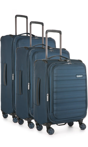 Antler Portland Navy Expandable 3 Piece Hard Suitcase Set