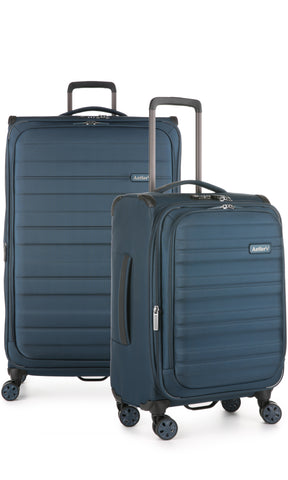 Antler Portland Expandable Large 81cm And Cabin/Carry On Navy Suitcase Set