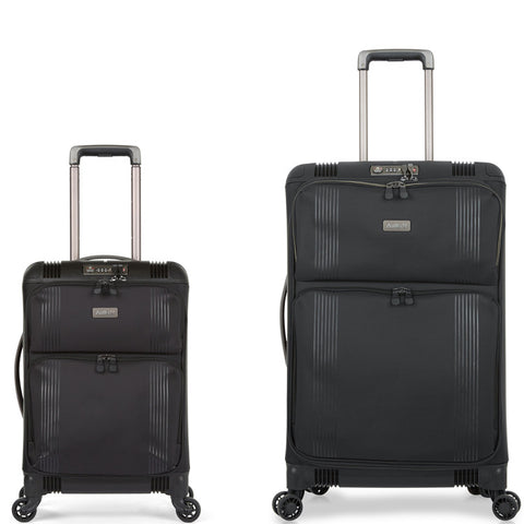 Antler Titus Medium 69cm And Cabin/Carry On 56cm Black Hybrid Set
