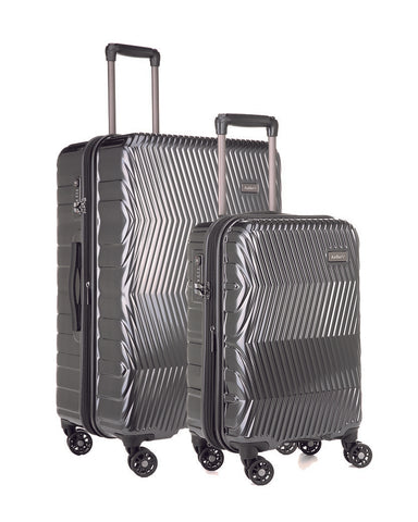 Antler Viva Charcoal Expandable Hard Large And Cabin Suitcase Set