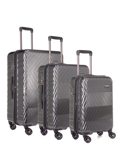 Antler Viva Charcoal Expandable 3 Piece Hard Suitcase Set