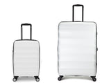 Antler Juno Expander Large 79cm And Cabin/Carry On 56cm White Expandable Hard Suitcase Set