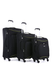 Antler Zeolite 3 Piece Black Soft Suitcase Set with FREE Luggage Leash