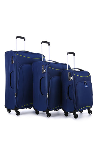 Antler Zeolite 3 Piece Set Blue Soft Suitcase with FREE Luggage Leash