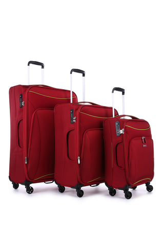 Antler Zeolite 3 Piece Set Red Soft Suitcase with FREE Luggage Leash