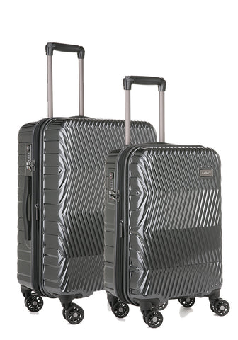 Antler Viva Charcoal Expandable Hard Medium And Cabin Suitcase Set
