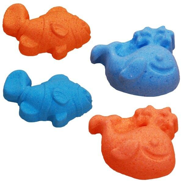 All Natural Kids Bath Bombs, fish and whale shaped, by Salem Essentials (SEA).