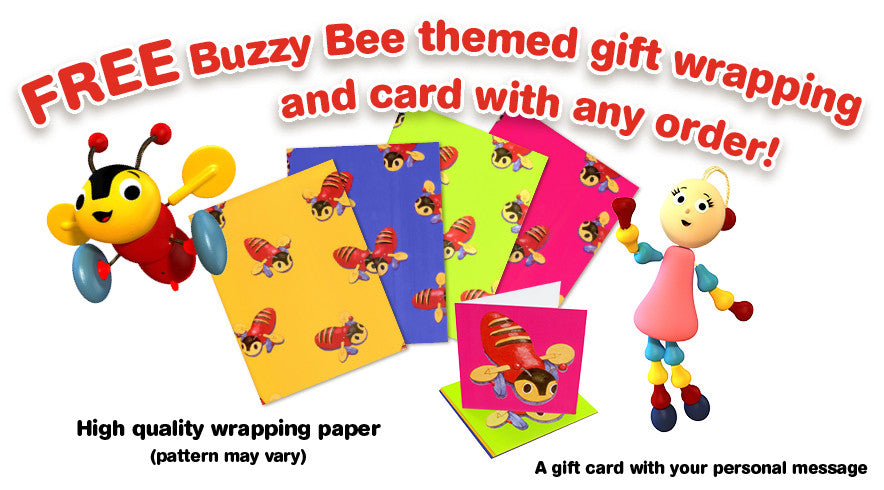 Free Buzzy Bee themed gift wrapping and card with any order