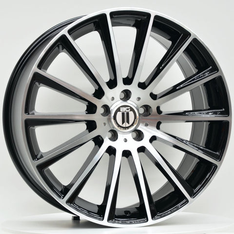 AME 20x8.5 ET35 5/112 Black Machined Face