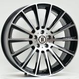 AME 19 Inch Staggered ET45 Black Machined Face