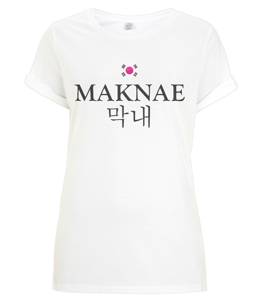 Maknae Kpop T-shirt for Women - Rolled Sleeve