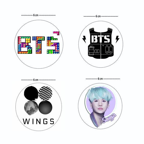 BTS kPOP Sticker Set | 4 Stickers for Laptop, Phone, Tablet, More | Clear Stickers with Glossy Finish
