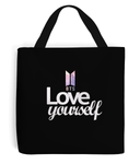 BTS Love Yourself Tote Bag - Printed and Sewn by Hand | Printed on Both Sides