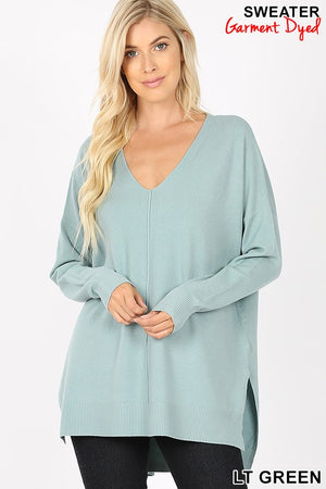 Hi Low  V-Neck Center Seam Sweater