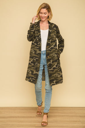 Acid Wash Long Jacket