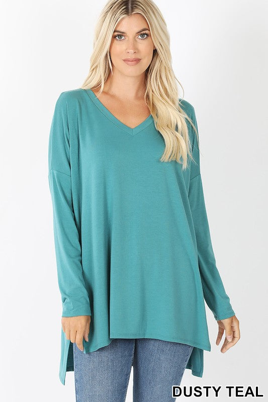 Dolman Sleeve V-Neck High-Low Top