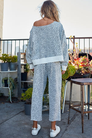 Oversize Fit Leopard Print French Terry Sweatshirt