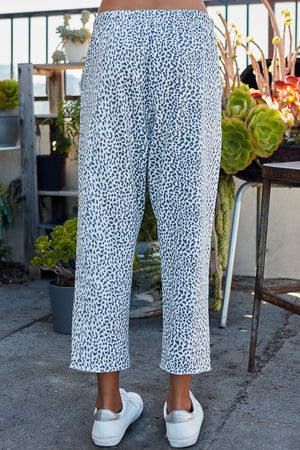 Leopard Print Long French Terry Straight Pants