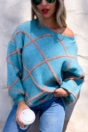 Diamond Shape Color Block Textured Cozy Sweater
