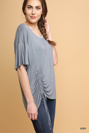 Knit Ruffle Sleeve Top with Cinched Drawstring Side