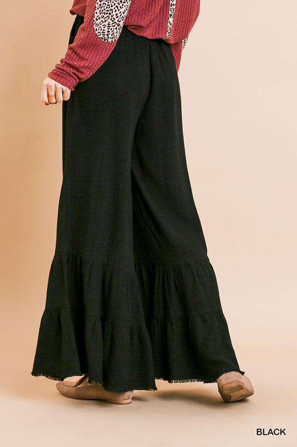 Wide Ruffle Leg Pants with Pockets and Frayed Hem