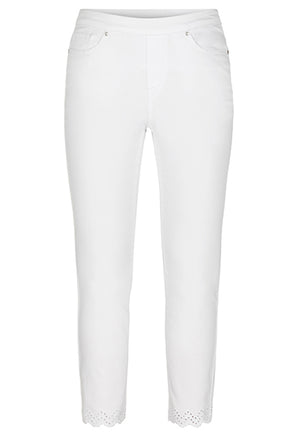 Super Stretch Ankle Pants with Embroidery
