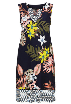 Sleeveless Tropical Print Dress w/ Border Print