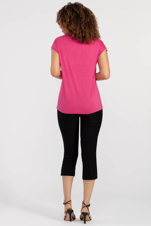 Cap Sleeve V-Neck with Banded Neckline