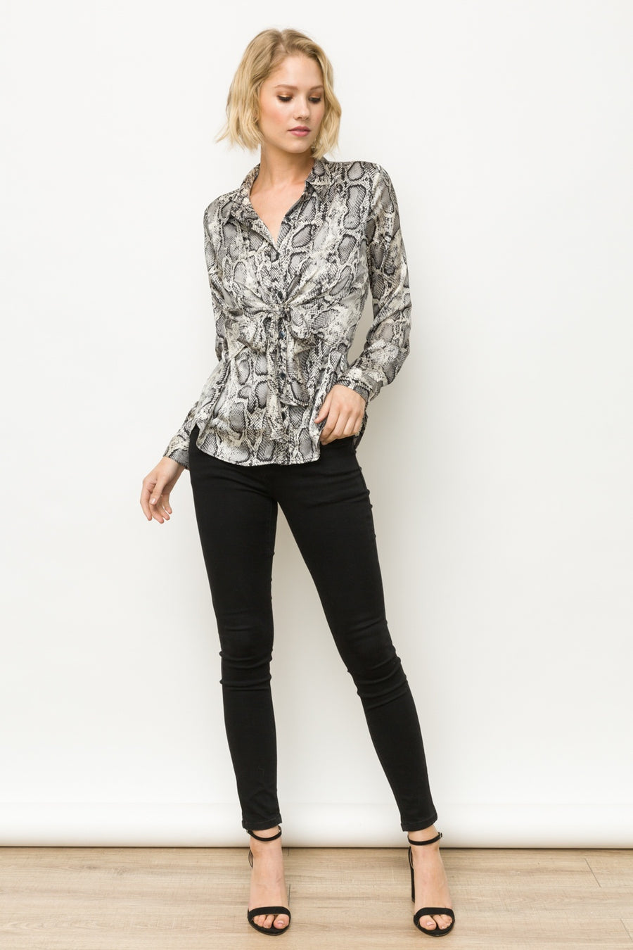 Animal Print Twisted Button Down