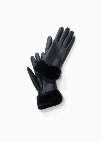 Faux Leather Fur Trim Gloves