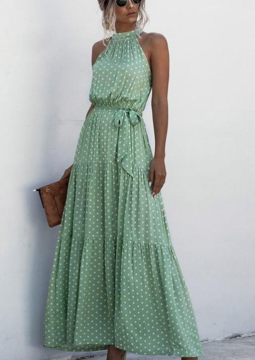 Halter Neckline Polka Dot Maxi Dress