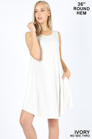 Round Hem Sleeveless Swing Dress