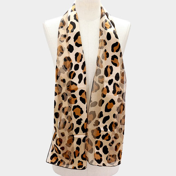 Silk Feel Striped Leopard Scarf
