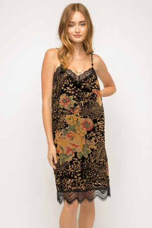 Burnout Velvet Slip Dress
