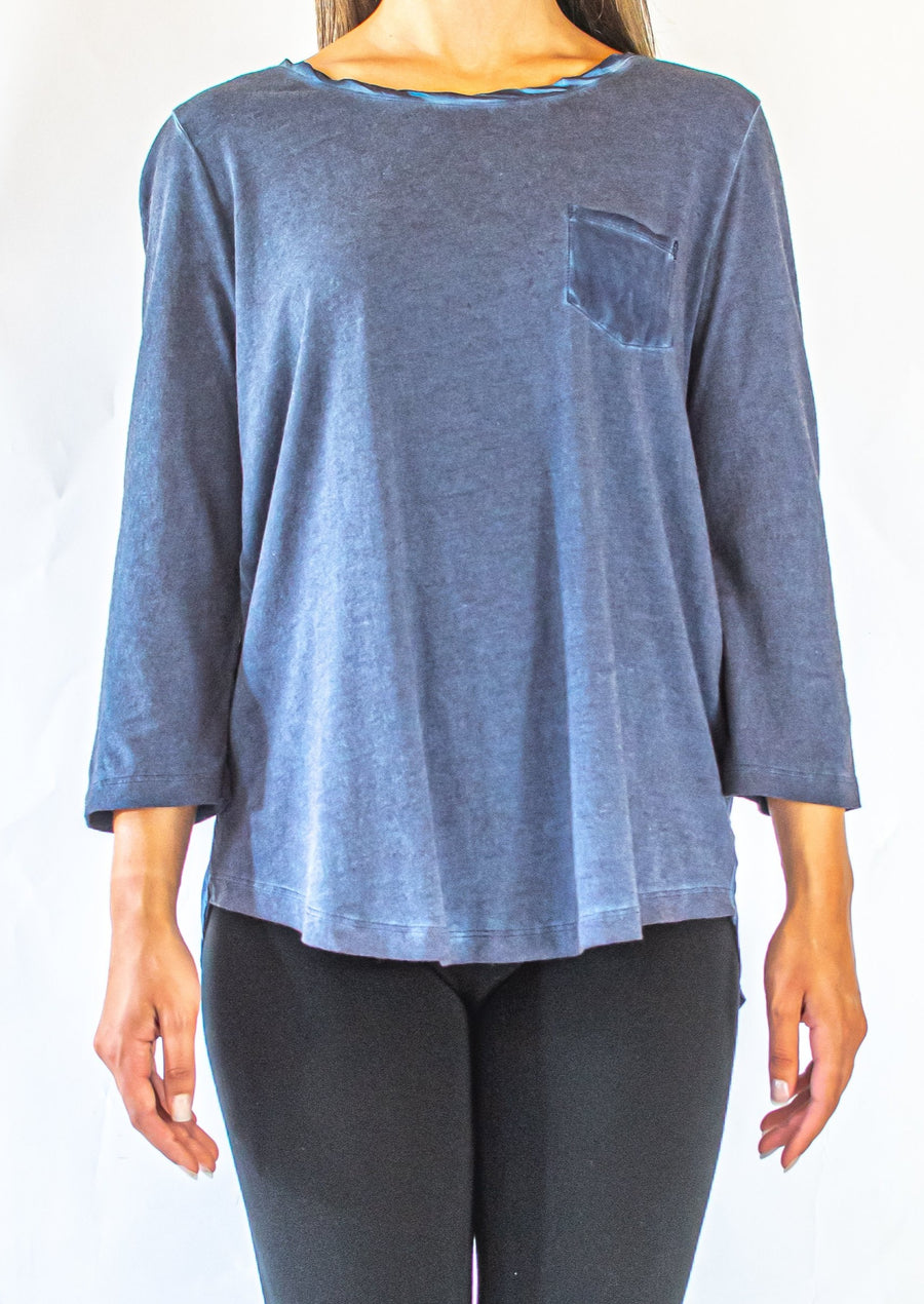 3/4 Sleeve Top with Woven Back