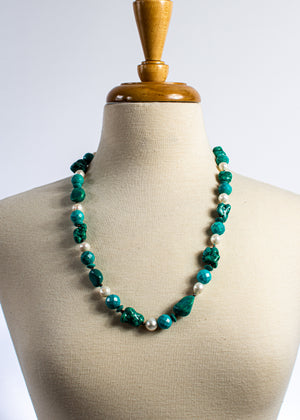 Magnesite Turquoise & Pearl Necklace