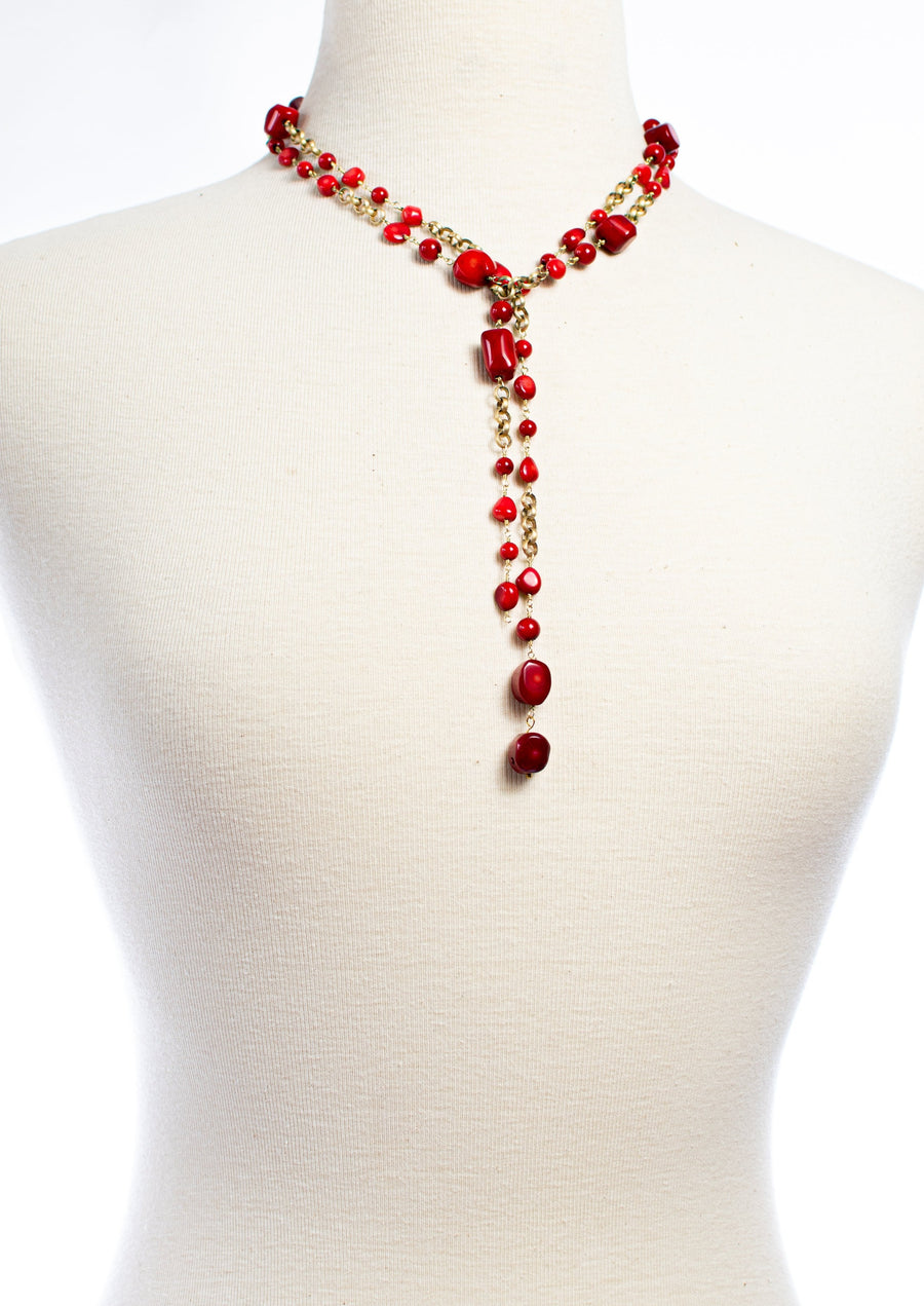 Red Sea Bamboo Lariat Necklace