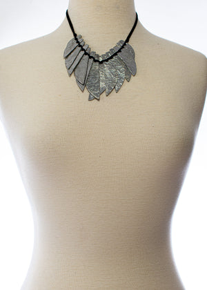 Hammered Metal Feather Necklace
