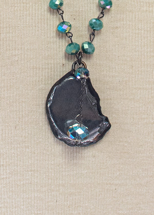 Crystal Wire Wrapped Necklace with Mirror Pendant