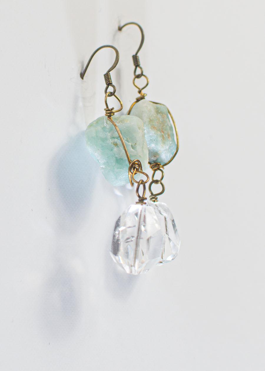 Antique Bronze Wire Wrapped Raw Stone Earrings