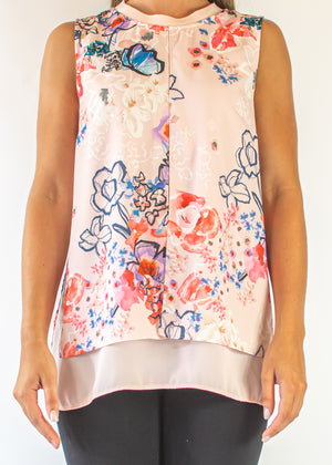 Sleeveless Printed Layer Blouse