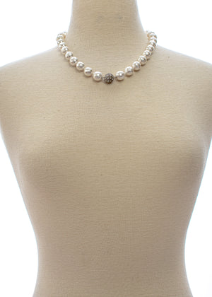 Mother of Pearl Necklace with Pave Ball Center