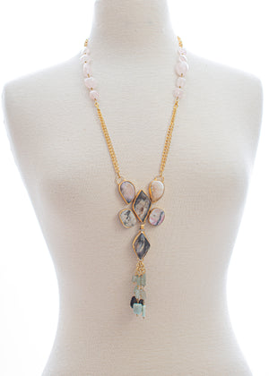 Rose Quartz & Agate Stone Tassel Necklace