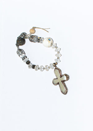 Recycled Glass Cross Bracelet