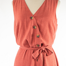 Sleeveless Linen Dress with Button Front & Tie