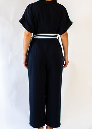 Nautical Short Sleeve Jumpsuit with Tie Waist