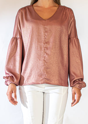 Drop Shoulder Puff Sleeve Blouse
