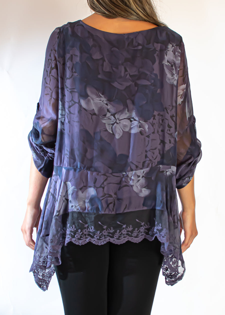 Floral Silk Blouse with Lace Trim