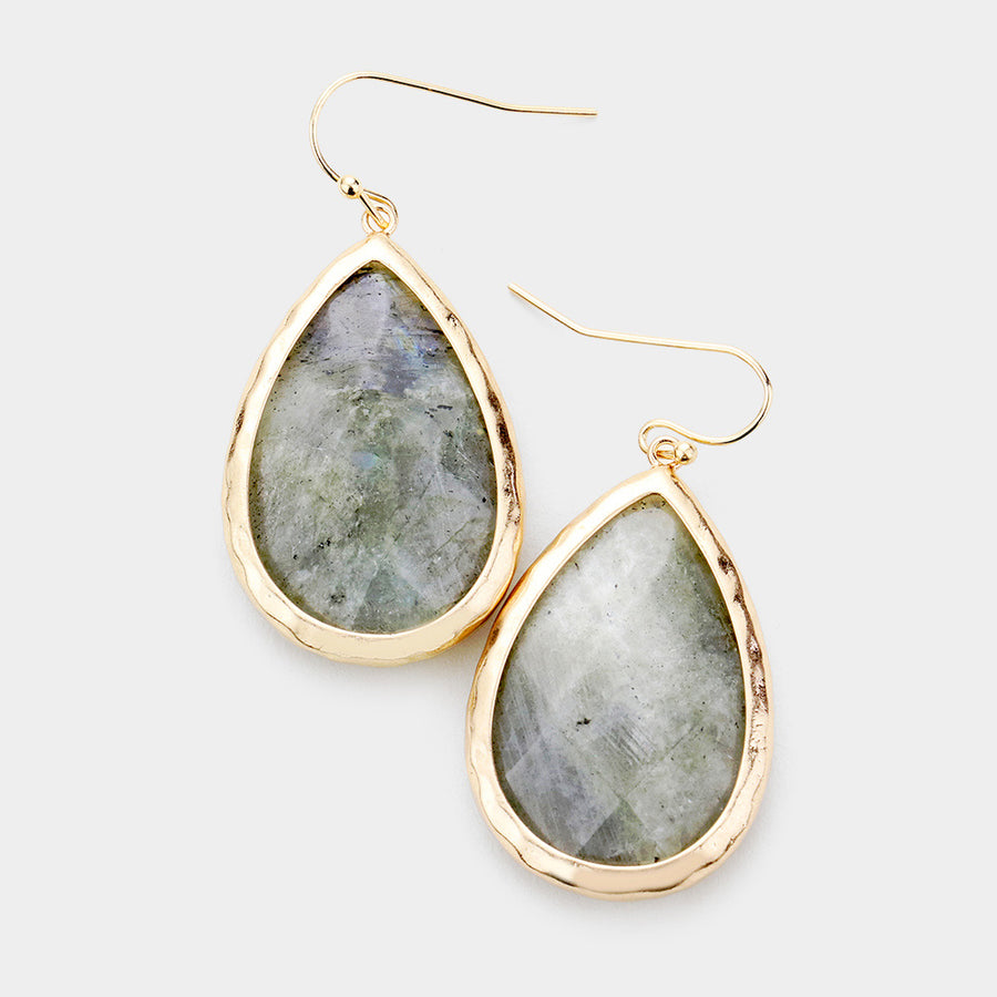 Large Semi Precious Teardrop Stone Dangle Earrings