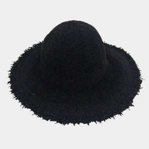 Knitted Bucket Frayed Brim Hat